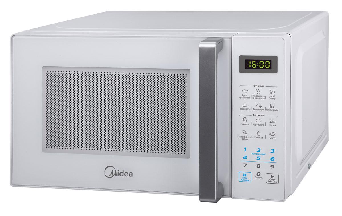 Midea EG820CXX-W микроволновая печьME83KRW-3Компактная и надежная микроволновая печь объемом 20 литров сочетает в себе стильный дизайн, высокое качество и интуитивно понятное электронное управление, благодаря чему вы сможете быстро и просто разогреть и приготовить различные блюда. С функцией автоматического размораживания вам не придется подсчитывать необходимое количество времени и мощность для размораживания того или иного продукта, достаточно выбрать специальную программу. Функция автоматического разогрева избавит вас от необходимости делать расчеты, достаточно лишь указать тип продукта и его объем, а микроволновая печь самостоятельно определит необходимую мощность. Кроме того, в этой модели имеются 6 функций автоматического приготовления, в которых наиболее популярные блюда запрограммированы, и достаточно лишь выбрать необходимое блюдо и печь сама установит режим. Со встроенным грилем вы сможете готовить аппетитные блюда с хрустящей корочкой. Камера печи покрыта инновационной разработкой компании Midea - эмалью легкой очистки Smart Clean (Смарт Клин), которая состоит из специального жаропрочного материала, не пропускающего внутрь запекшийся жир и остатки пищи. Поэтому очищать печь можно значительно быстрее и легче! Функция таймера (на 99 минут) и 11 уровней мощности еще больше облегчат процесс приготовления и позволят сэкономить время. Дверца открывается при помощи удобной ручки. Панель управления на русском языке и светодиодный (LED) дисплей помогут быстро и легко приготовить любимые блюда! По окончании процесса приготовления раздается звуковой сигнал. Безопасность в работе обеспечивает защита от включения при открытой дверце, а также защитная блокировка кнопок. В подарок к печи прилагается решетка для гриля и книга рецептов, которая разнообразит ваш стол различными новыми блюдами на любой вкус.
