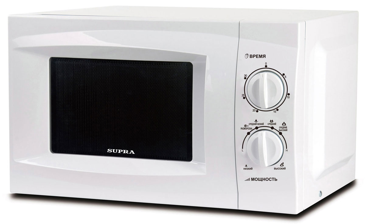 Supra MWS-1801MW СВЧ-печьMWS-1801MWПростая в эксплуатации микроволновая печь Supra MWS-1801MW выполнена в классическом дизайне, что позволит ей органично вписаться в практически любой интерьер кухни. Ничего лишнего: 18-литровая камера, регулятор мощности и таймер поворотного типа, встроенная СВЧ-антенна внутри. С задачами разогрева и приготовления блюд такие модели справляются. Не разочарует вас и качество разморозки: у SUPRA MWS-1801MW для этого есть отдельный режим. И она запросто сможет солировать на кухне - вам нужно будет только правильно определиться с мощностью микроволн и временем приготовления блюда. А уж по скорости готовки любой СВЧ-печи нет равных: она обскачет и классическую электропечь, и тем более мультиварку. При этом все будет вкусным и равномерно прожаренным. Недаром вращающийся поддон стал классикой микроволновой кулинарии!