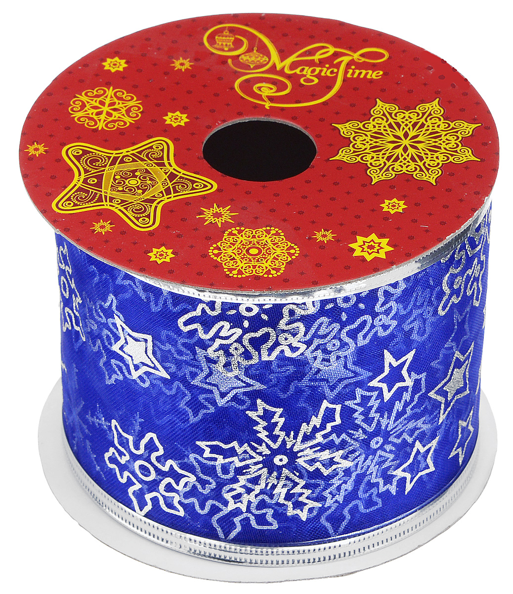 Декоративная лента Феникс-презент Magic Time, цвет: синий, серебристый, длина 2,7 м. 3889238892Декоративная лента Феникс-презент Magic Time выполнена из полиэстера и декорирована изображением снежинок и звезд. В края ленты вставлена проволока, благодаря чему ее легко фиксировать. Лента предназначена для оформления подарочных коробок, пакетов. Кроме того, декоративная лента с успехом применяется для художественного оформления витрин, праздничного оформления помещений, изготовления искусственных цветов. Декоративная лента украсит интерьер вашего дома к праздникам.Ширина ленты: 6,3 см.