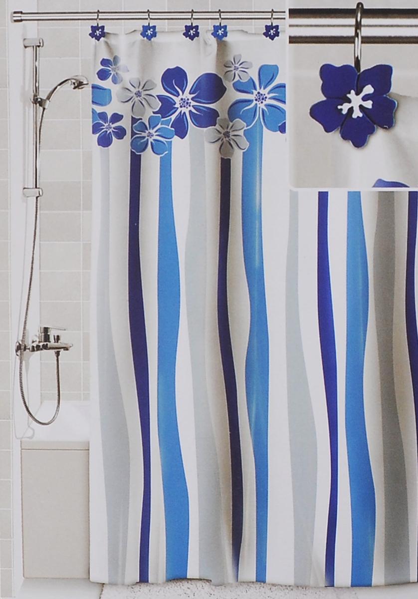 Штора для ванной Valiant Водопад цветов, цвет: белый, голубой, 180 х 180 см