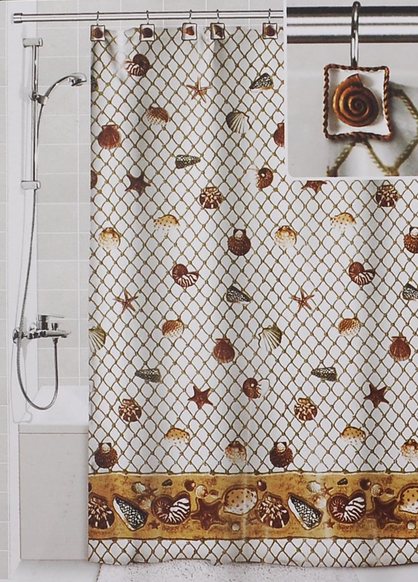 Штора для ванной Valiant Морские ракушки, цвет: белый, коричневый, 180 см х 180 см