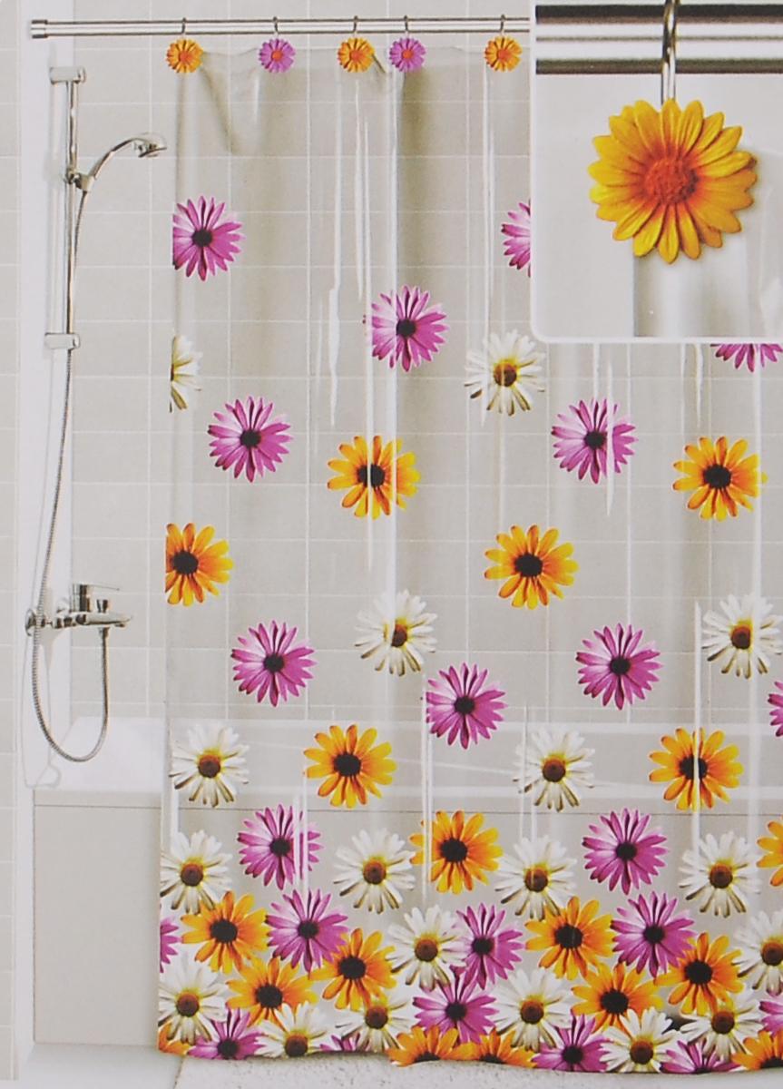 Штора для ванной Valiant Герберы, цвет: белый, желтый, розовый, 180 см х 180 см