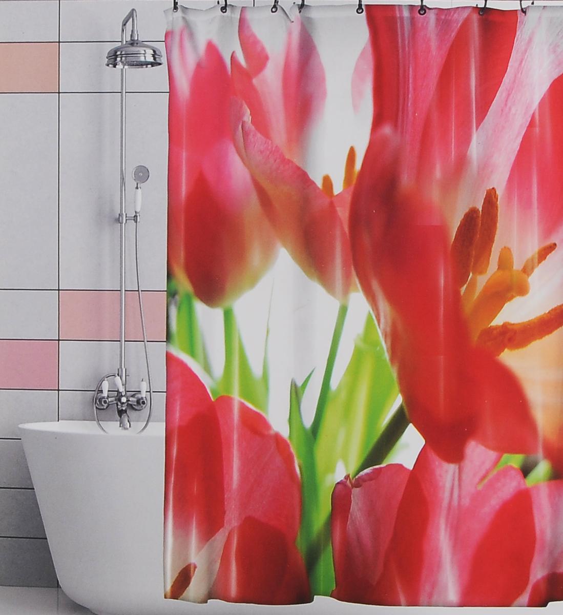Штора для ванной Valiant Красные тюльпаны, цвет: белый, красный, 180 см х 180 см