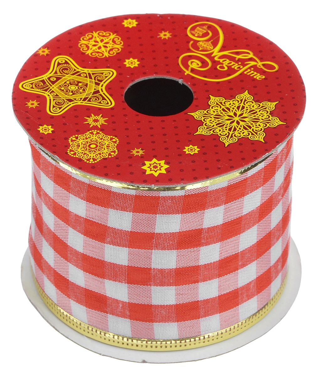 Декоративная лента Magic Time, цвет: белый, красный, длина 2,7 м. 3889738897Декоративная лента Magic Time выполнена из высококачественного полиэстера. В края ленты вставлена проволока, благодаря чему ее легко фиксировать. Лента предназначена для оформления подарочных коробок, пакетов. Кроме того, декоративная лента с успехом применяется для художественного оформления витрин, праздничного оформления помещений, изготовления искусственных цветов. Декоративная лента украсит интерьер вашего дома к праздникам.Ширина ленты: 6,3 см.