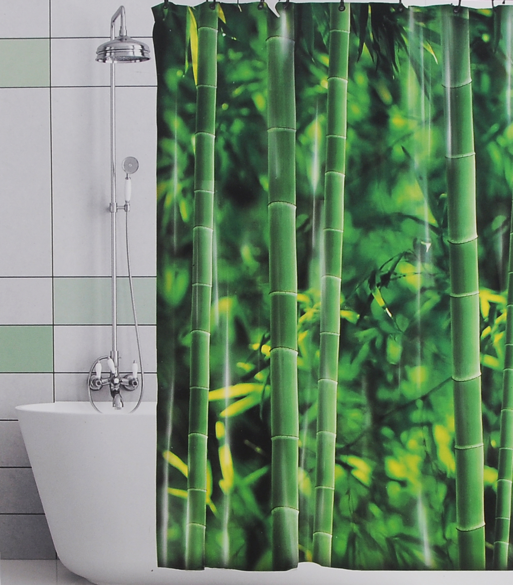 Штора для ванной Valiant Бамбуковые джунгли, цвет: зеленый, 180 х 180 смGHШтора для ванной комнаты Valiant Бамбуковые джунгли из 100% плотного полиэстера с водоотталкивающей поверхностью идеально защищает ванную комнату от брызг.В верхней кромке шторы предусмотрены отверстия для пластиковых колец (входят в комплект), а в нижней кромке шторы скрыт гибкий шнур, который поддерживает ее в естественной расправленной форме.Штору можно легко почистить мягкой губкой с мылом или постирать ее с мягким моющим средством в деликатном режиме. Количество колец: 12 шт.