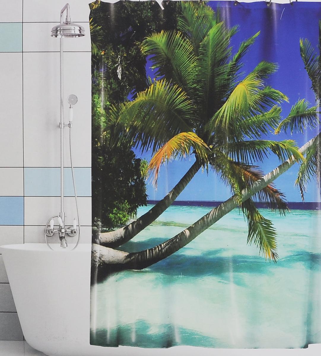Штора для ванной Valiant Голубая лагуна, цвет: синий, зеленый, 180 см х 180 смBBШтора для ванной комнаты Valiant Голубая лагуна из 100% плотного полиэстера с водоотталкивающей поверхностью идеально защищает ванную комнату от брызг.В верхней кромке шторы предусмотрены отверстия для пластиковых колец (входят в комплект), а в нижней кромке шторы скрыт гибкий шнур, который поддерживает ее в естественной расправленной форме.Штору можно легко почистить мягкой губкой с мылом или постирать ее с мягким моющим средством в деликатном режиме. Количество колец: 12 шт.