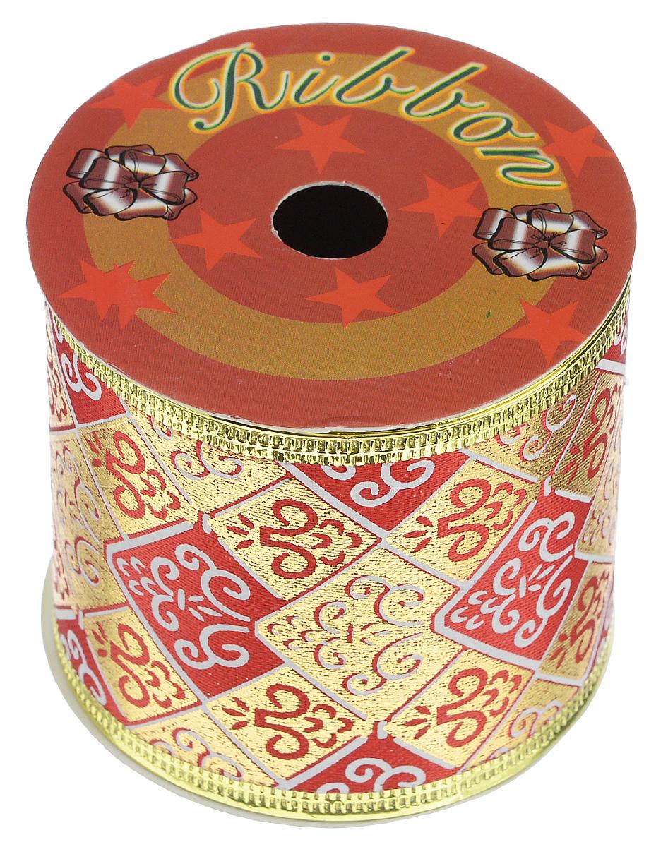 Декоративная лента Феникс-презент, цвет: красный, золотистый, длина 2,7 м. 3540635406Декоративная лента Феникс-презент выполнена из полиэстера и декорирована оригинальным орнаментом. В края ленты вставлена проволока, благодаря чему ее легко фиксировать. Лента предназначена для оформления подарочных коробок, пакетов. Кроме того, декоративная лента с успехом применяется для художественного оформления витрин, праздничного оформления помещений, изготовления искусственных цветов. Декоративная лента украсит интерьер вашего дома к праздникам.Ширина ленты: 6,3 см.