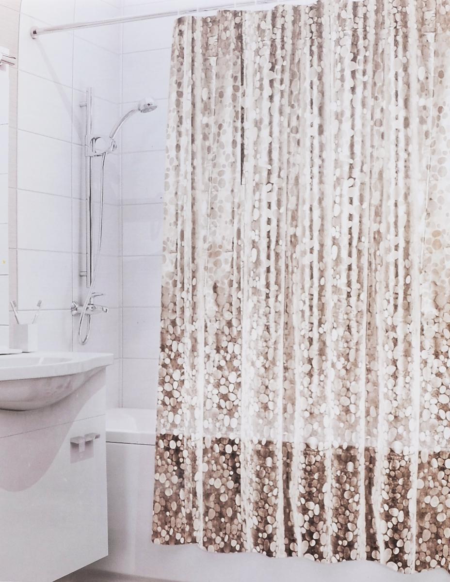 Штора для ванной 3D Valiant Камни, цвет: коричневый, бежевый, 180 см х 180 см