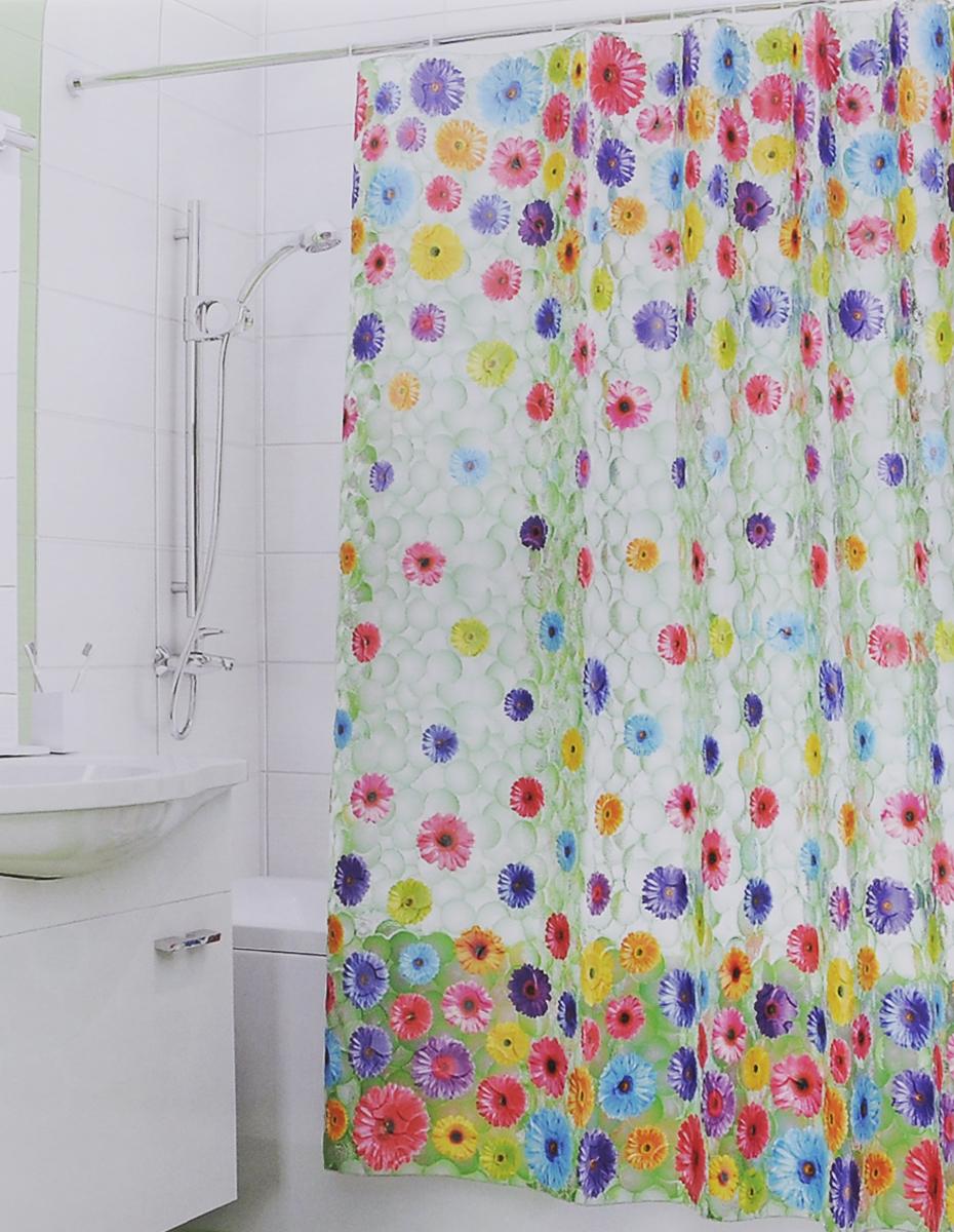 Штора для ванной 3D Valiant Герберы, цвет: зеленый, розовый, желтый, 180 см х 180 см