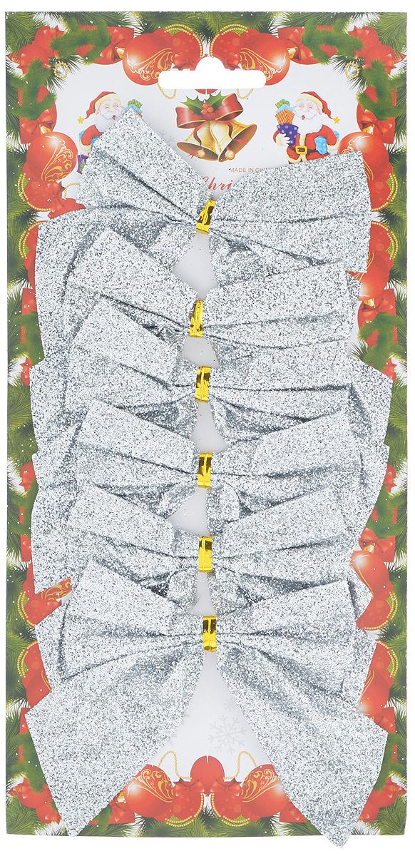 Набор новогодних украшений Феникс-Презент Бант, цвет: серебряный с блеском, 6 шт набор новогодних украшений феникс презент бант цвет лиловый 12 шт 39193