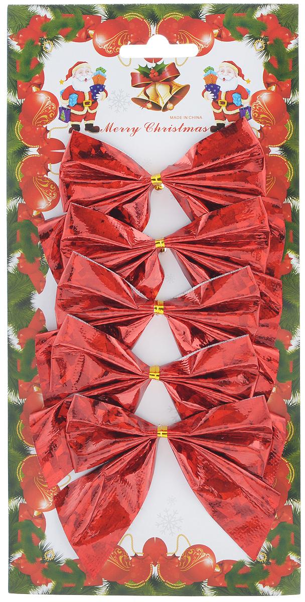 Набор новогодних украшений Феникс-Презент Бант, цвет: мерцающий красный, 5 шт набор новогодних украшений феникс презент медали с елочками на прищепках 6 шт