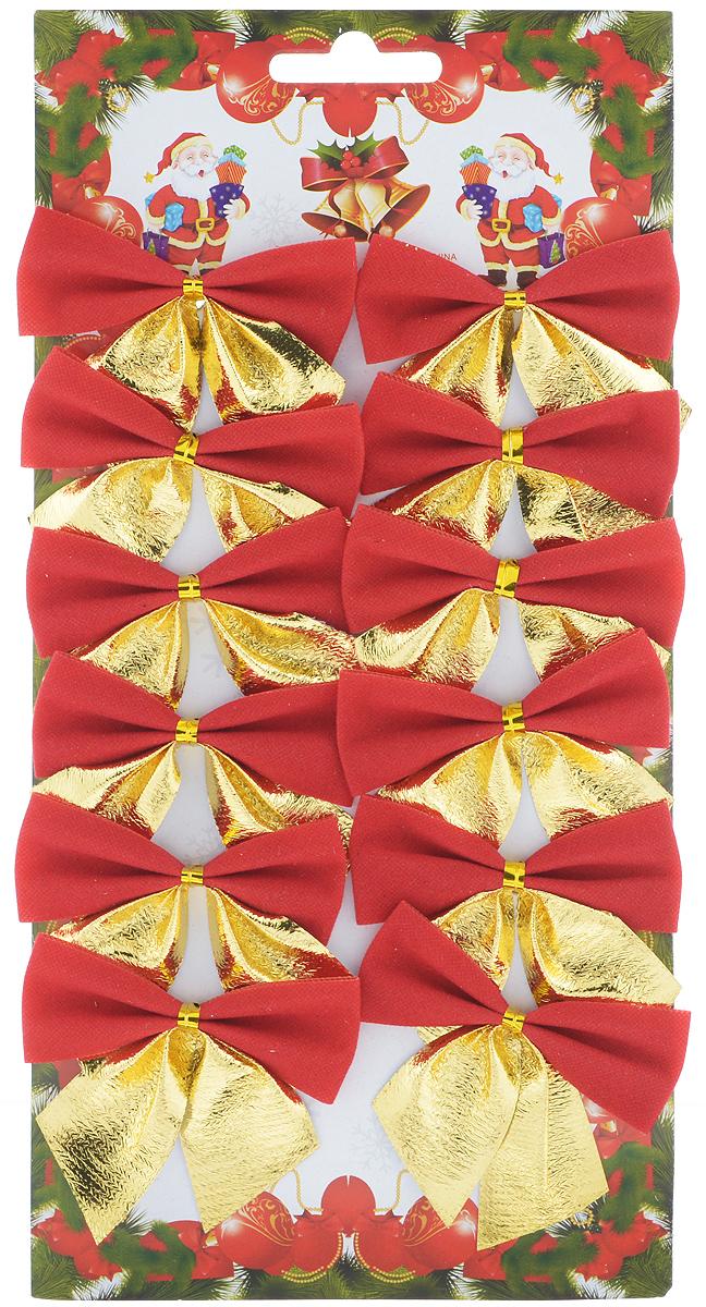 Набор новогодних украшений Феникс-Презент Бант, цвет: золотой, красный, 12 шт. 39201 набор новогодних украшений феникс презент бант цвет лиловый 12 шт 39193
