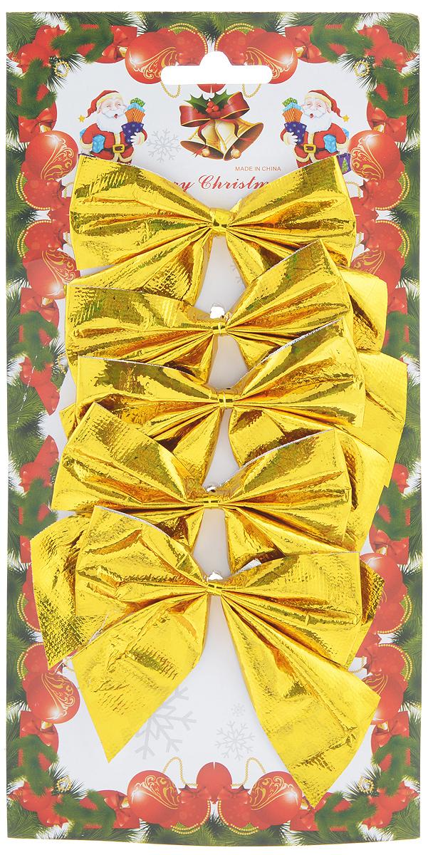 Набор новогодних украшений Феникс-Презент Бант, цвет: золотистый, 5 шт. 3918839188Набор новогодних украшений Феникс-Презент Бант прекрасно подойдет для праздничного декора новогодней ели. Набор состоит из 5 бантов, изготовленных из полиэстера. Для удобного размещения на елке с оборотной стороны банты оснащены двумя проволоками. Коллекция декоративных украшений принесет в ваш дом ни с чем не сравнимое ощущение волшебства! Откройте для себя удивительный мир сказок и грез. Почувствуйте волшебные минуты ожидания праздника, создайте новогоднее настроение вашим дорогим и близким. Размер украшения: 8,5 см х 8 см.