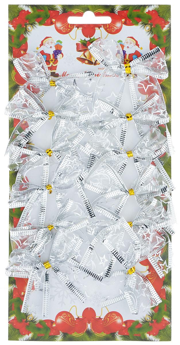 Набор новогодних украшений Феникс-презент Бант, цвет: серебристый, 12 шт. 39190 набор новогодних украшений феникс презент бант цвет лиловый 12 шт 39193