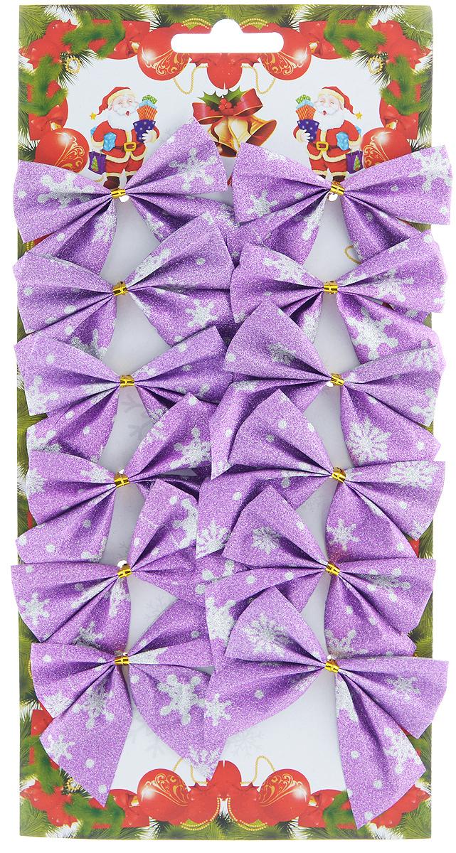 Набор новогодних украшений Феникс-Презент Бант, цвет: лиловый, 12 шт. 39193 набор новогодних украшений феникс презент медали с елочками на прищепках 6 шт