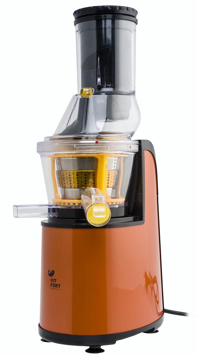 Kitfort KT-1102-1, Orange шнековая соковыжималкаKT-1102-1 оранжевыйШнековая соковыжималка Kitfort КТ-1102 позволяет отжимать максимально возможное количество сока из фруктов, овощей и зелени с сохранением всех его полезных компонентов: витаминов, аминокислот и минералов. Сок во время отжима не нагревается и не окисляется. Соковыжималкалегко собирается и просто моется после работы.Модель Kitfort КТ-1102 оснащена широкой подающей горловиной и шнеком специальной формы, что позволяет загружать многие фрукты, например яблоки, целиком, не разрезая их предварительно на части.