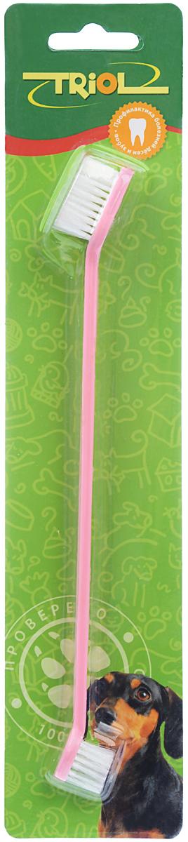 Зубная щетка для собак Triol, двойная, цвет: розовый, 21 смМт-11000_розовыйДвусторонняя зубная щетка для собак Triol, изготовленная из высококачественного пластика и нейлона, подойдет для ухода за ротовой полостью крупных и мелких пород. Щетка имеет две разные по размеру чистящие головки. Зубная щетка имеет мягкую щетину, которая бережно очищает поверхность зубов, промежутки между зубами и массирует десны.Длина щетки: 21 см.