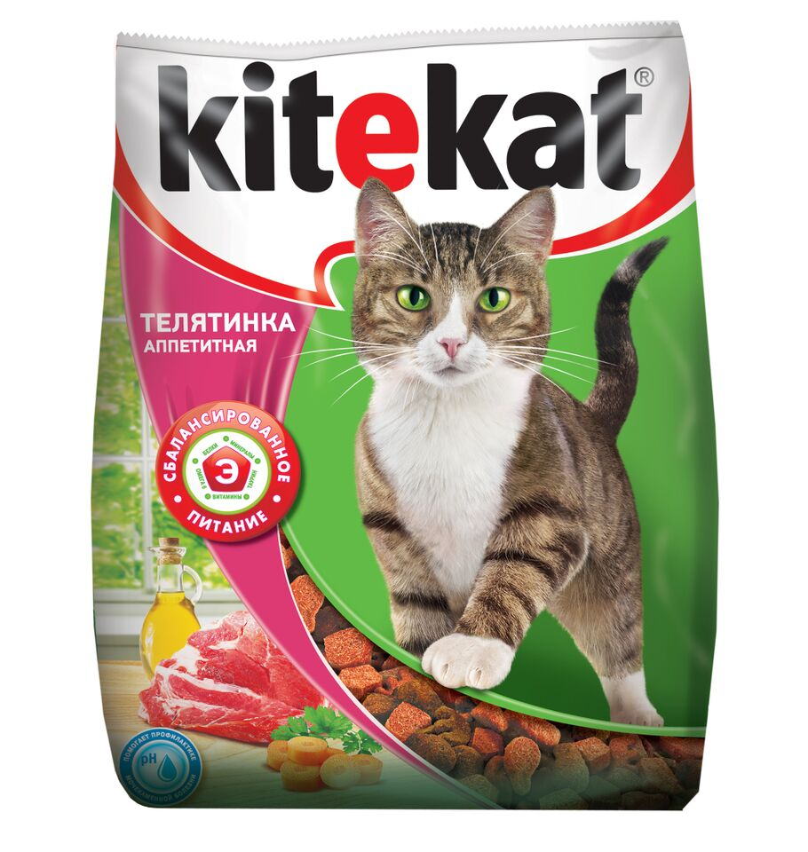 Корм сухой для кошек Kitekat, телятина аппетитная, 350 г40425Сухой корм для взрослых кошек Kitekat - это специально разработанный рацион с оптимально сбалансированным содержанием белков, витаминов и микроэлементов. Уникальная формула Kitekat включает в себя все необходимые для здоровья компоненты: - белки - для поддержания мышечного тонуса, силы и энергии; - жирные кислоты - для здоровой кожи и блестящей шерсти; - кальций, фосфор, витамин D - для крепости костей и зубов; - таурин - для остроты зрения и стабильной работы сердца; - витамины и минералы, натуральные волокна - для хорошего пищеварения, правильного обмена веществ, укрепления здоровья.Состав: злаки, мясо и субпродукты, белковые растительные экстракты, жиры животного происхождения, растительные масла (источник омега-6), овощи, пивные дрожжи, витамины и минеральные вещества. Товар сертифицирован.