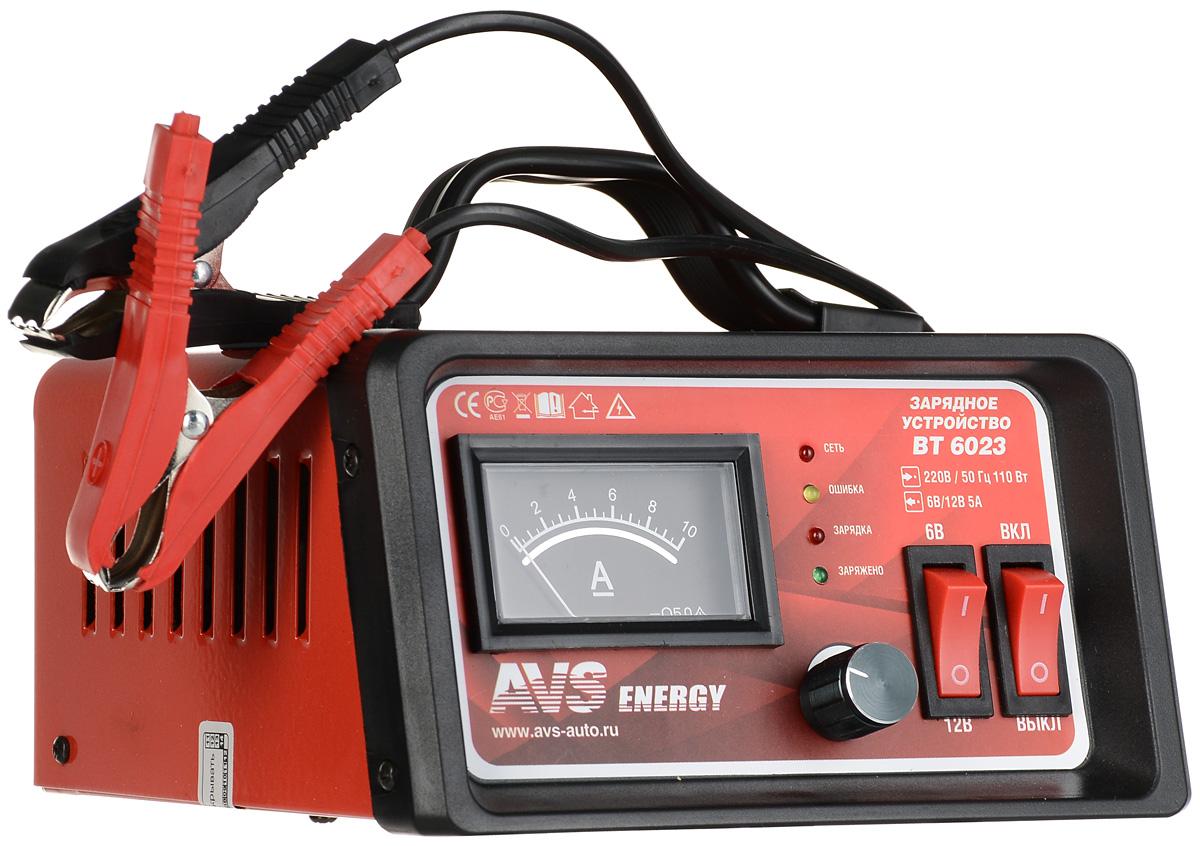 Зарядное устройство для автомобильного аккумулятора AVS BT-6023 (5A) 6/12VA80908SЗарядное устройство для автомобильного аккумулятора AVS BT-6023 поможет решить актуальную проблему разрядки аккумуляторов в холодные сезоны, в результате которой автомобиль плохо заводится. Данная модель предназначена для заряда 6 и 12-вольтовых свинцово-кислотных аккумуляторных батарей. Используется для зарядки аккумуляторов как автомобилей, так и других транспортных средств, например мотоциклов, картов, или катеров. Высокочастотная технология преобразования мощности производит процесс заряда в 2-3 раза быстрее, чем традиционные зарядные устройства.Ток зарядки: 0-5 А Емкость заряжаемого аккумулятора: 5–50 Ач Защита от неправильной полярности Защита от короткого замыканияТип предохранителя: 3,15 А