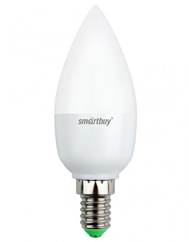 """Светодиодная лампа Smartbuy C37 - энергосберегающая лампа общего или декоративного освещения, подходит для замены стандартных ламп накаливания и галогенных. Благодаря своей экономичности, длительному сроку службы и экологичности светодиодные лампы выгодно отличаются от своих предшественников. Колба лампы выполнена в форме свечи. Поверхность колбы матовая. Лампа С37 повторяет форму и размеры стандартных ламп типа """"свеча"""" и идеально подходит к любому светильнику, в котором используются данные типы ламп. В светодиодных лампах серии C37 применяются высокоэффективные светодиоды, обеспечивающие эффективность до 80 лм/Вт. При этом коэффициент цветопередачи ламп обеспечивается на уровне Ra>80. Особенности: - Хорошая цветопередача. - Отсутствие мерцания обеспечивает меньшую утомляемость глаз. - Высокоэффективный драйвер обеспечивает стабильную работу. - Устойчивость к механическому воздействию. - Большой срок службы - 30 000 часов работы. - Широкий рабочий температурный режим от -25° до +45°С. - Не содержит ртуть, экологически безопасна. Тип колбы: C37. Индекс цветопередачи: RA>80. Частота: 50 Гц. Напряжение: 220-240 В. Коэффициент мощности: 0,06."""