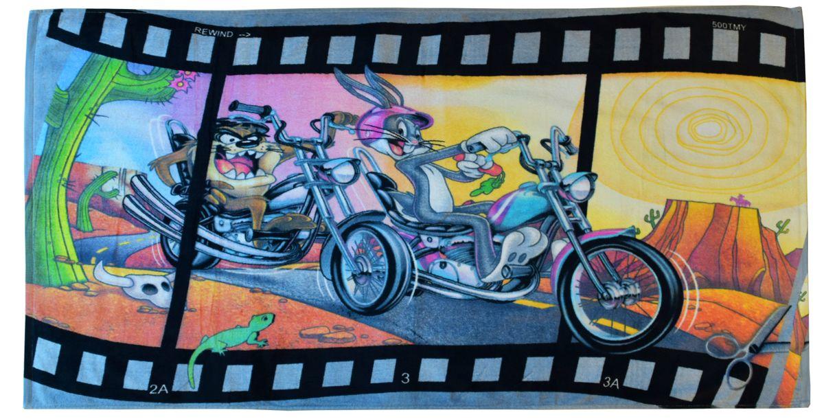 Полотенце 70*140 см, махровое, Мотогонщики01300115891Красочные полотенца 2 в 1: одна сторона развлекает, другая — вытирает.Разнообразие расцветок полотенец поможет окунуться в мир волшебных сказок и мультипликационных героев.