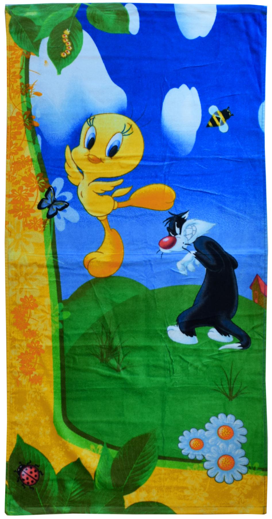 Полотенце 60*120 см, махровое, Твитти на природе01300115896Красочные полотенца 2 в 1: одна сторона развлекает, другая — вытирает.Разнообразие расцветок полотенец поможет окунуться в мир волшебных сказок и мультипликационных героев.
