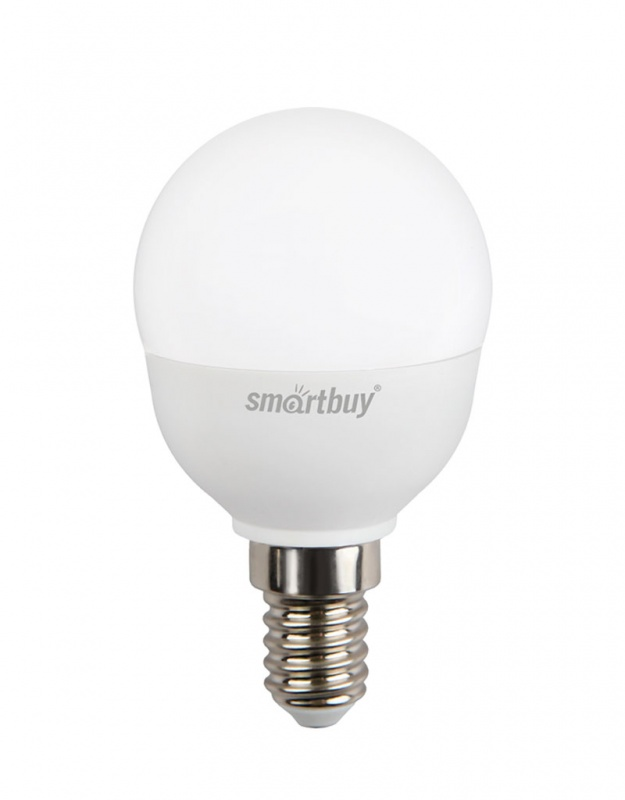 """Светодиодная лампа Smartbuy P45 - энергосберегающая лампа общего или декоративного освещения, подходит для замены ламп накаливания и галогенных. Благодаря своей экономичности, длительному сроку службы и экологичности светодиодные лампы выгодно отличаются от своих предшественников. Колба лампы выполнена в форме шара. Поверхность колбы матовая. Лампа P45 повторяет форму и размеры стандартных ламп типа """"шар"""" и идеально подходит к любому светильнику, в котором используются данные типы ламп. В светодиодных лампах серии P45 применяются высокоэффективные светодиоды, обеспечивающие эффективность до 80 лм/Вт. При этом коэффициент цветопередачи ламп обеспечивается на уровне Ra>80. Особенности: - Хорошая цветопередача. - Отсутствие мерцания обеспечивает меньшую утомляемость глаз. - Высокоэффективный драйвер обеспечивает стабильную работу. - Устойчивость к механическому воздействию. - Большой срок службы - 30 000 часов работы. - Широкий рабочий температурный режим от -25° до +45°С. - Не содержит ртуть, экологически безопасна. Тип колбы: P45. Индекс цветопередачи: RA>80. Частота: 50 Гц. Напряжение: 220-240 В. Коэффициент мощности: 0,06."""