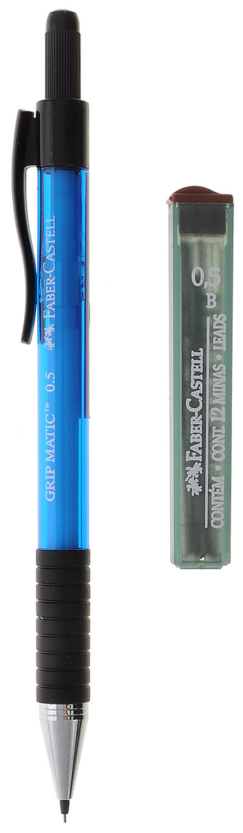 Faber-Castell Механический карандаш Grip Matic с ластиком и запасными грифелями цвет корпуса синий263425_синийМеханический карандаш Faber-Castell - незаменимый атрибут современного делового человека дома и в офисе.Корпус карандаша круглой формы с металлическим наконечником выполнен из высококачественного пластика. Дополнен корпус пластиковым держателем, резиновой областью захвата и длинным выдвижным ластиком. Карандаш оснащен инновационной технологией выдвижения грифеля без сжатия (грифель выдвигается в зависимости от письма в оптимальном объеме). Убирающийся внутрь кончик обеспечивает безопасное ношение карандаша в кармане.В наборе контейнер с запасными стержнями. Толщина линии: 0,5 мм. Мягкое комфортное письмо и тонкие линии при написании принесут вам максимум удовольствия. Порадуйте друзей и знакомых, оказав им столь стильный знак внимания.