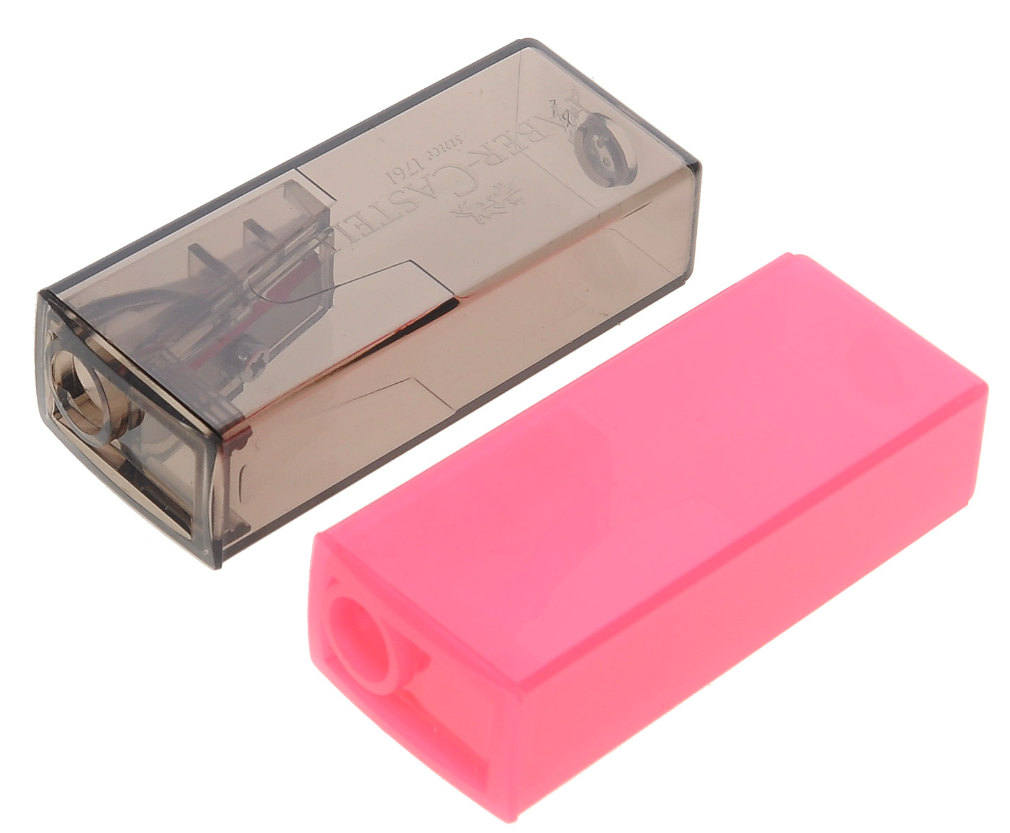 Faber-Castell Точилка флуоресцентная цвет розовый серый 2 шт263332_розовый, серыйТочилки Faber-Castell предназначены для затачивания карандашей диаметром 8 мм. Полупрозрачные контейнеры позволяют визуально определить уровень заполнения и вовремя произвести очистку. Острые стальные лезвия обеспечивают высококачественную и точную заточку деревянных карандашей.В комплекте две точилки разных цветов.