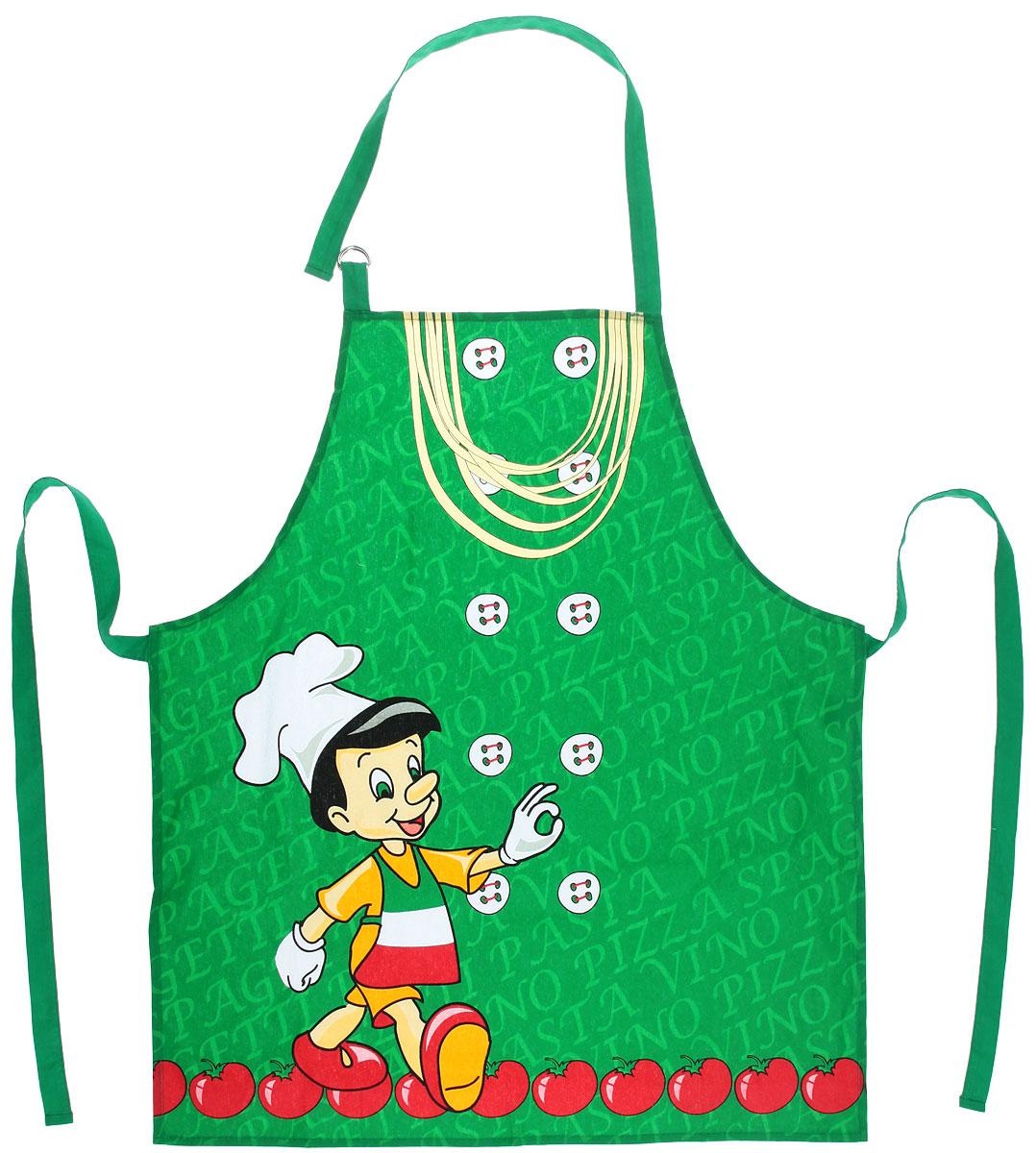 """Фартук Bon Appetit """"Италия"""", изготовленный из натурального 100% хлопка, оснащен карманом и  регулируемым шейным ремешком, который поможет подогнать фартук по вашему росту. Удлиненный пояс можно завязать сзади или обернуть вокруг талии, благодаря чему фартук подойдет на фигуру S-XXL.  Такой фартук поднимет настроение, позволит почувствовать себя нарядной и женственной при выполнении домашних дел."""