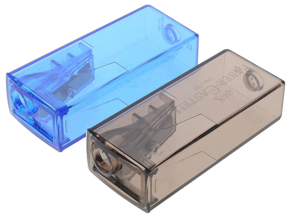 Faber-Castell Точилка флуоресцентная цвет серый синий 2 шт263332Точилки Faber-Castell предназначены для затачивания карандашей диаметром 8 мм. Полупрозрачные контейнеры позволяют визуально определить уровень заполнения и вовремя произвести очистку. Острые стальные лезвия обеспечивают высококачественную и точную заточку деревянных карандашей. В комплекте две точилки разных цветов.
