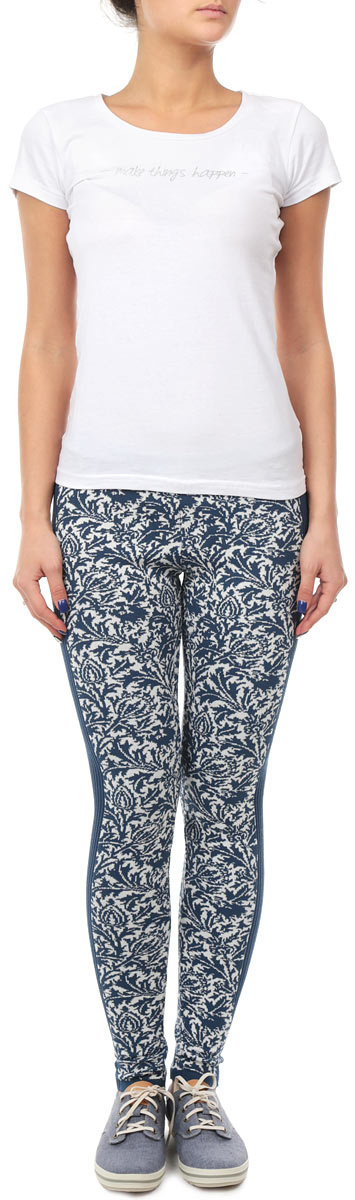 Леггинсы женские Milana Style, цвет: синий, белый. 1105. Размер 48