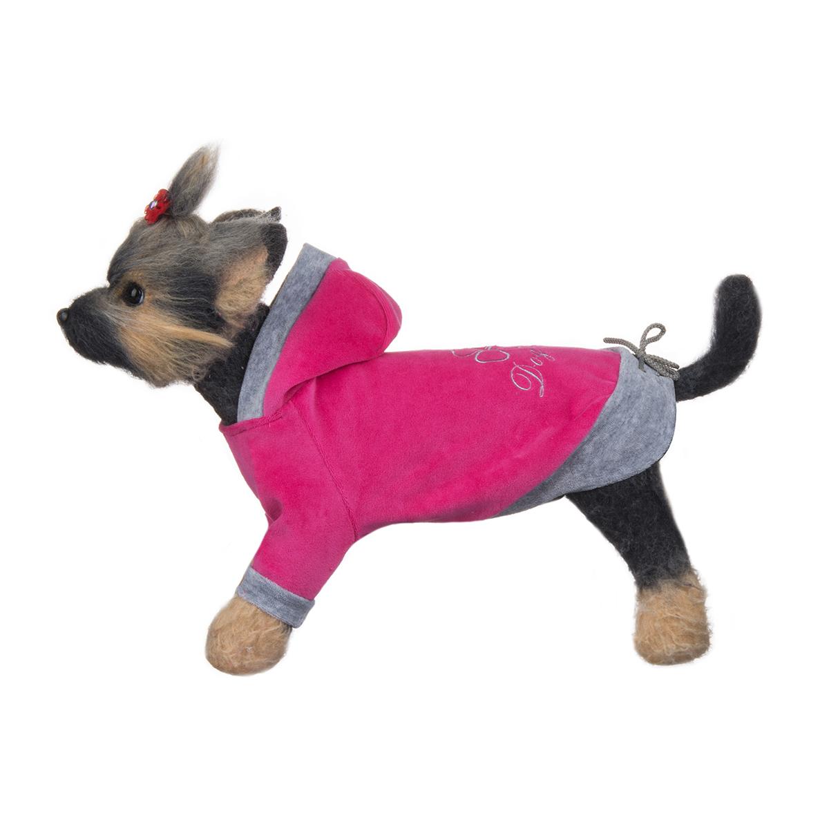 Куртка для собак Dogmoda Хоум, унисекс, цвет: розовый, серый. Размер 1 (S)DM-150309-1Куртка для собак Dogmoda Хоум отлично подойдет для прогулок в сухую погоду или для дома.Куртка изготовлена из качественного мягкого велюра.Куртка с капюшоном достаточно широкая и не имеет застежек, ее легко надевать и снимать. Капюшон не отстегивается. Низ рукавов оснащен широкими стильными манжетами. Спинка украшена серебристой вышивкой в виде клевера и надписи Dogmoda. На пояснице куртка затягивается на шнурок-кулиску.Благодаря такой куртке вашему питомцу будет комфортно наслаждаться прогулкой или играми дома.Одежда для собак: нужна ли она и как её выбрать. Статья OZON Гид