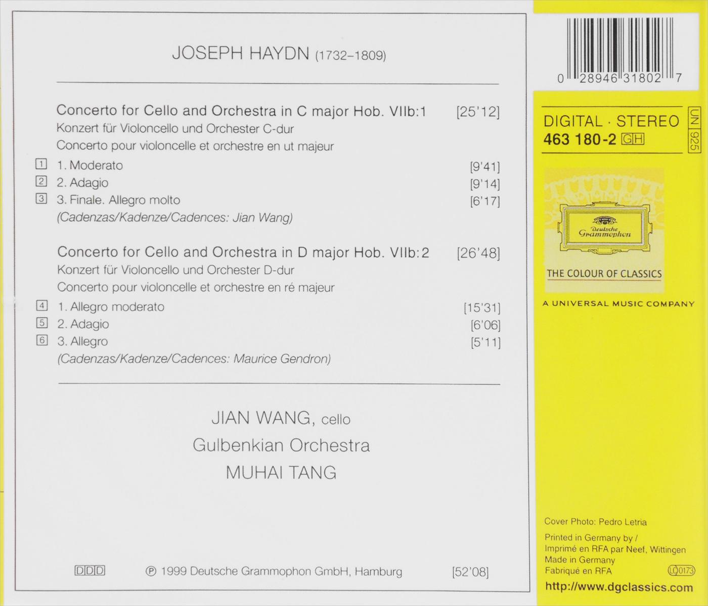 Jian Wang, Muhai Tang.  Haydn.  Cello Concertos Deutsche Grammophon GmbH,ООО