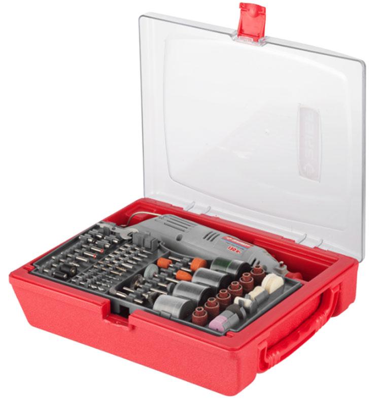 Гравер электрический ЗУБРЗГ-130ЭК H176Гравер ЗУБР - это надежный инструмент с мощным двигателем, способный выполнить широкий круг задач (резка, полировка, гравирование, шлифование). Его неоспоримыми преимуществами являются высокая производительность, большой рабочий ресурс и универсальность применения при обработке различных материалов.Применяется при выполнении высокоточных чистовых работ по резке, шлифовке и полировке металла, древесины, пластика, керамики и других материалов.Особенности:Электронная регулировка оборотов позволяет подобрать оптимальный режим обработки для каждого вида работы Эргономичный дизайн, благодаря которому инструмент удобно лежит в руке Блокировка вала для быстрой замены инструмента Быстрая замена щеток коллектора ротора применяется при выполнении высокоточных чистовых работ по резке, шлифовке и полировке металла, древесины, пластика, керамики и других материаловУдобный мобильный чемодан для хранения и транспортировки Большой выбор рабочих форм и зернистостей насадок позволяет выполнять работы любой сложности даже в домашних условиях.В комплект входит:Гравер электрический.Щетки-крацовки из нержавеющей стали: 3 шт.Отрезные абразивные круги: 40 шт.Отрезные супер тонкие абразивные круги: 40 шт.Круги шлифовальные: 40 шт.Шарошки металлические: 1 шт.Абразивные круги по металлу с хвостовиком: 3 шт.Абразивные круги по металлу: 3 шт.Абразивные круги по камню с хвостовиком: 2 шт.Абразивные круги по камню: 3 шт.Шлифовальные цилиндры: 12 шт.Тканевый полировальный круг: 1 шт.Фетровые полировальные круги: 4 шт.Резиновый полировальный круг: 1 шт.Паста полировальная: 1 шт.Сверла по металлу: 4 шт.Державки для шлифовальных цилиндров: 2 шт.Цанги хромированные: 4 шт.Оправки: 4 шт.Ключ комбинированный монтажный: 1 шт.Брусок абразивный правочный: 1 шт.Шарошки алмазные: 6 шт.