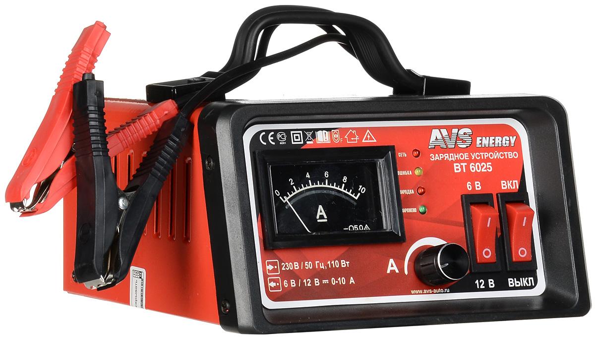 Зарядное устройство для автомобильного аккумулятора AVS BT-6025 (10A) 6/12V43722Зарядное устройство для автомобильного аккумулятора AVS BT-6025 поможет решить актуальную проблемуразрядки аккумуляторов в холодные сезоны, в результате которой автомобиль плохо заводится. Данная модельпредназначена для заряда 6 и 12-вольтовых свинцово-кислотных аккумуляторных батарей. Используется длязарядки аккумуляторов как автомобилей, так и других транспортных средств, например мотоциклов, картов, иликатеров. Высокочастотная технология преобразования мощности производить процесс заряда в 2-3 раза быстреечем традиционные зарядные устройства.Ток зарядки: 0-10 АЕмкость заряжаемого аккумулятора: 5–100 АчЗащита от неправильной полярностиЗащита от короткого замыкания Тип предохранителя: 3,5 А