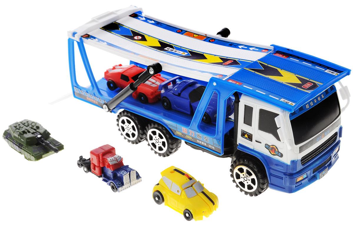 Junfa Toys Игровой набор Автовоз и 5 машинок-трансформеров junfa toys автовоз инерционный с погрузчиком excellent transport car