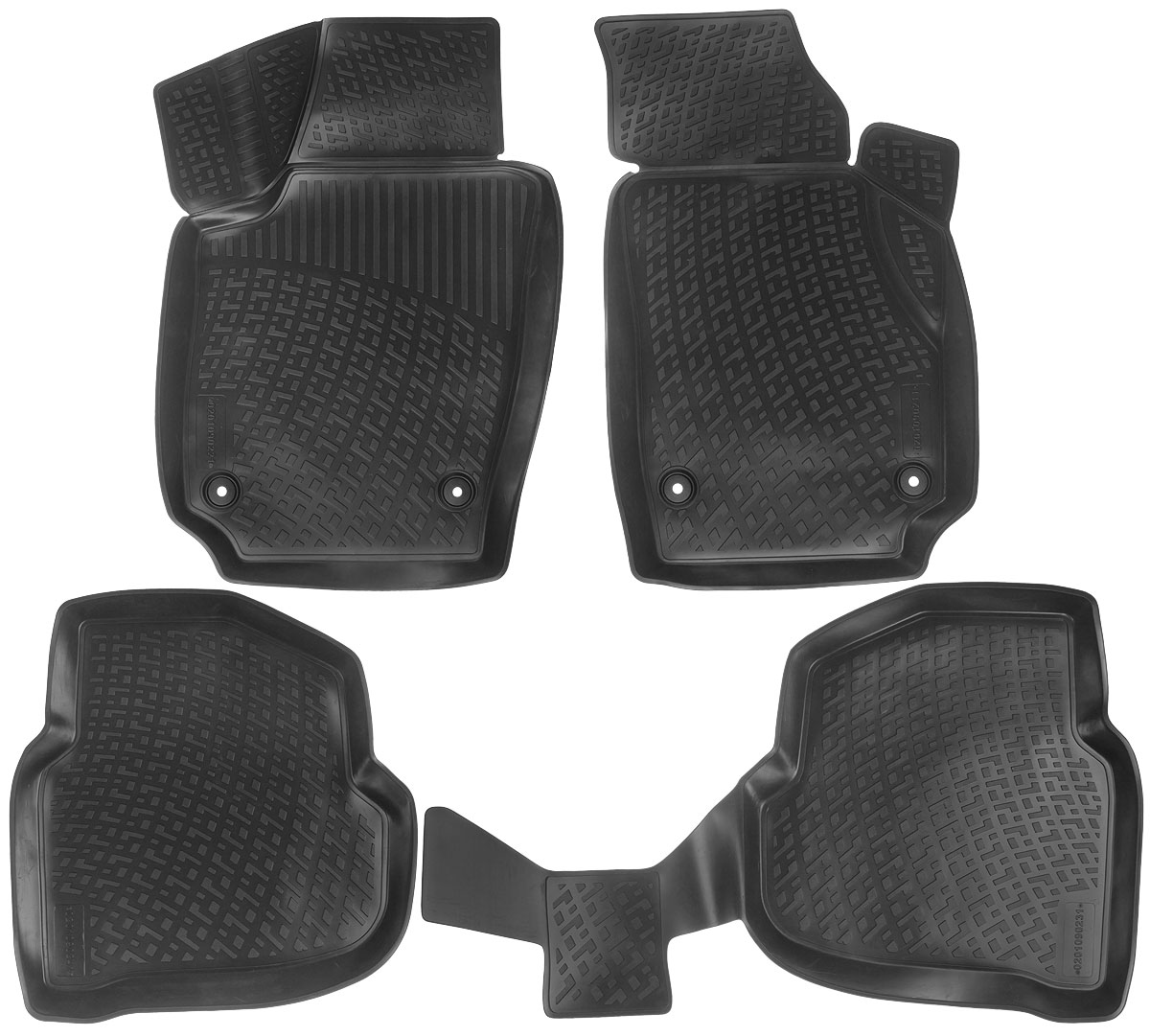 Набор автомобильных ковриков L.Locker Volkswagen Polo V Sedan 2010, в салон, 4 шт0201090201Набор L.Locker Volkswagen Polo V Sedan 2010, изготовленный из полиуретана, состоит из 4 антискользящих 3D ковриков, которые производятся индивидуально для каждой модели автомобиля. Изделие точно повторяет геометрию пола автомобиля, имеет высокий борт, обладает повышенной износоустойчивостью, лишено резкого запаха и сохраняет свои потребительские свойства в широком диапазоне температур от -50°С до +50°С.Комплектация: 4 шт.Размер ковриков: 78 см х 49 см; 57 см х 54,5 см; 98 см х 57 см; 53 см х 77 см.