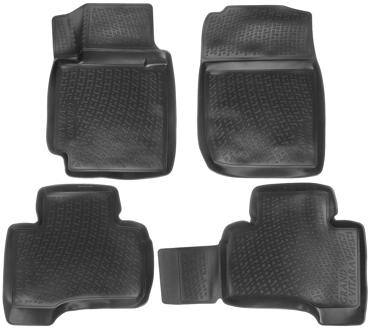 Набор автомобильных ковриков L.Locker Suzuki Grand Vitara 5 dr. 2005, в салон, 4 шт0212020201Набор L.Locker Suzuki Grand Vitara 5 dr. 2005, изготовленный из полиуретана, состоит из 4 антискользящих 3D ковриков, которые производятся индивидуально для каждой модели автомобиля. Изделие точно повторяет геометрию пола автомобиля, имеет высокий борт, обладает повышенной износоустойчивостью, лишено резкого запаха и сохраняет свои потребительские свойства в широком диапазоне температур от -50°С до +50°С. Набор подходит для автомобилей с 2005 года выпуска. Комплектация: 4 шт.Размер ковриков: 74 см х 54 см; 58 см х 61 см; 87 см х 58 см; 73 см х 53 см.