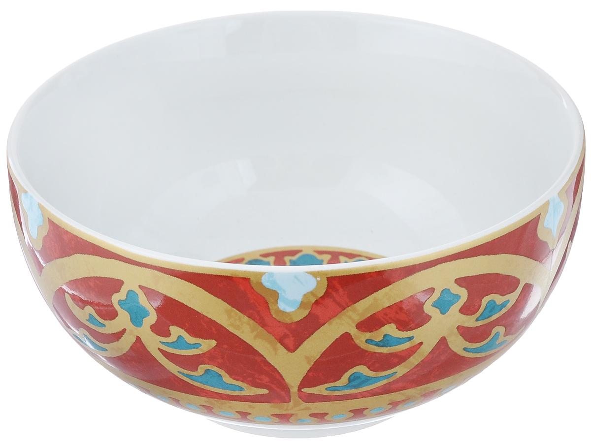 Салатница Utana Голден Палас, цвет: белый, коричневый, синий, диаметр 14 смUTGP17640Салатница Utana Голден Палас изготовлена из высококачественной керамики. Внешняя стенка и дно украшены изысканным узором. Такая салатница прекрасно подходит для холодных и горячих блюд: каш, хлопьев,супов, салатов. Она дополнит коллекцию вашей кухонной посуды и будет служитьдолгие годы. Яркая салатница станет украшением вашего стола и прекрасно подойдет дляиспользования, как дома, так и на даче или пикниках.Можно использовать в микроволновой печи и посудомоечной машине. Диаметр салатницы по верхнему краю: 14 см. Высота стенки: 6,5 см.