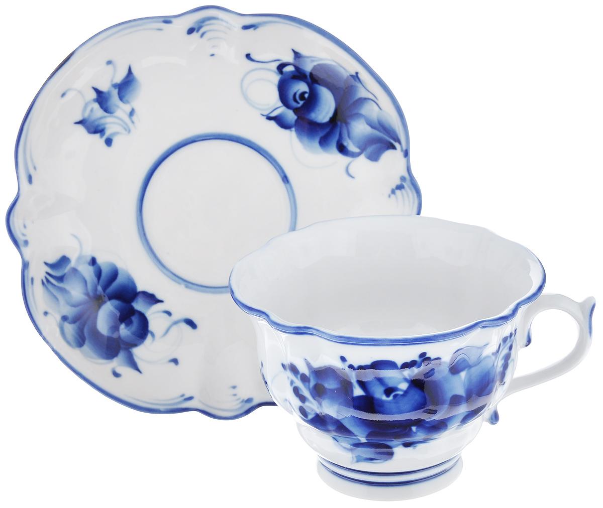 """Чайная пара """"Орхидея"""", цвет: белый, синий, 2 предмета, Гжельский фарфоровый завод"""