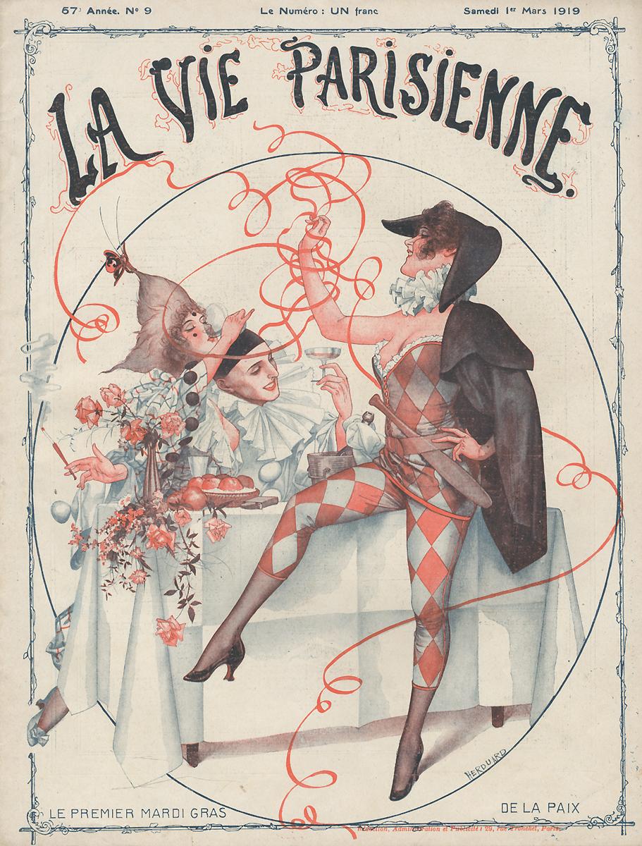 La Vie Parisienne, №9, mars 1919ВК411Париж, Imprimerie G. de Malherbe et Cie. Сохранность хорошая.Предлагаем вашему вниманию журнал La Vie Parisienne (Парижская жизнь). Редкое периодическое изданиеэпохи Модерн. Франция. Март 1919.