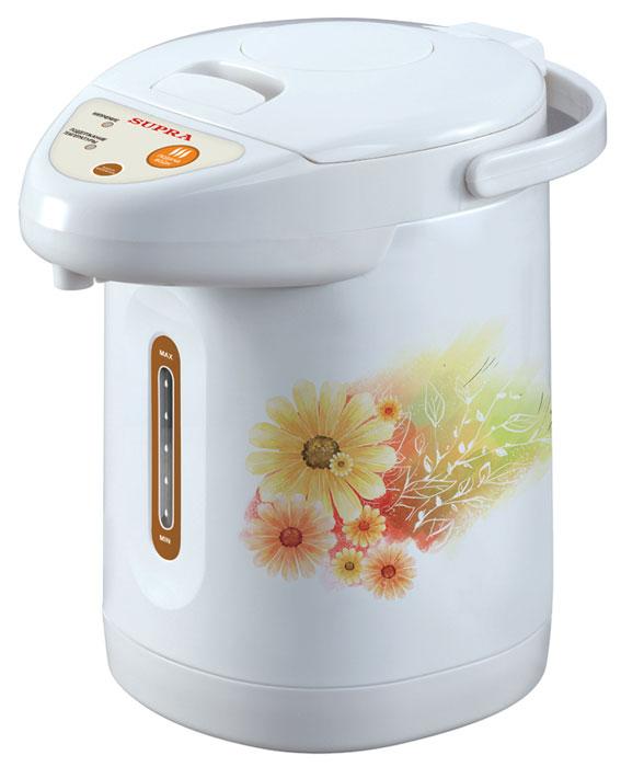 Supra TPS-3001 Gerbera термопотTPS-3001Вы по достоинству оцените возможности и удобство чайника-термоса, так как температура воды поддерживается на протяжении всего времени, пока Supra TPS-3001 gerbera находится в включенном состоянии. Также у вас есть возможность выбора определенной температуры, которую будет сохранять термопот. Однако нагревание воды в Supra TPS-3001 gerbera осуществляется чуть дольше, чем в электрических чайниках, все потому, что термопот является, в сравнении с чайником, маломощным представителем бытовой техники и потребляет значительно меньше электроэнергии. Но этот недостаток оборачивается в достоинство, так как Supra TPS-3001 gerbera позволяет вам экономить не только электричество, но и ваше время. Подумайте, сколько раз вы ставите чайник, и сколько времени занимает ожидание долгожданного кипятка? Электрочайник-термос всегда предоставит вам горячую воду для напитков.