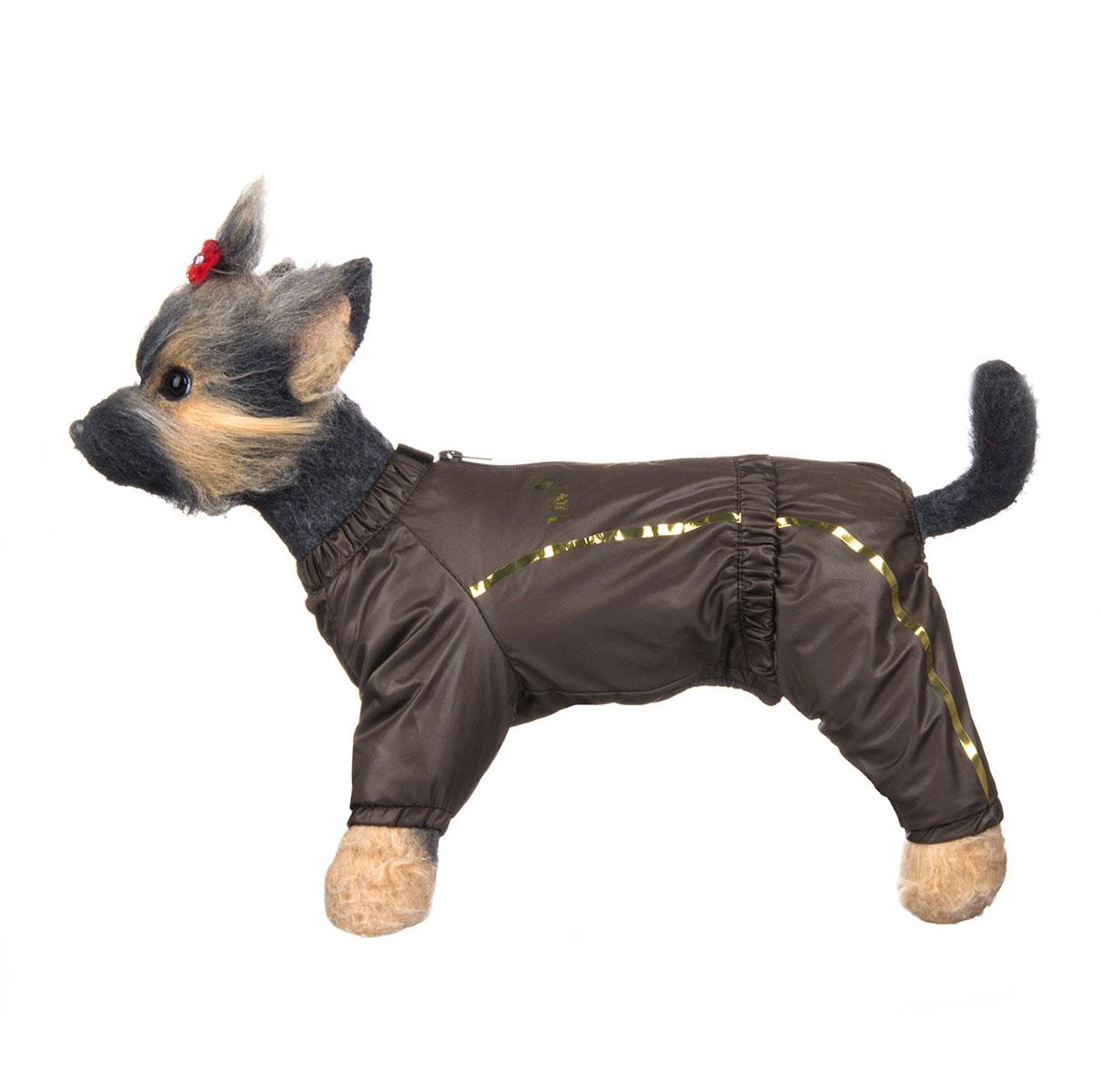 Комбинезон для собак Dogmoda Альпы, зимний, для мальчика, цвет: коричневый, бежевый. Размер 4 (XL)DM-150352-4Зимний комбинезон для собак Dogmoda Альпы отлично подойдет для прогулок в зимнее время года.Комбинезон изготовлен из полиэстера, защищающего от ветра и снега, с утеплителем из синтепона, который сохранит тепло даже в сильные морозы, а на подкладке используется искусственный мех, который обеспечивает отличный воздухообмен. Комбинезон застегивается на молнию и липучку, благодаря чему его легко надевать и снимать. Ворот, низ рукавов и брючин оснащены внутренними резинками, которые мягко обхватывают шею и лапки, не позволяя просачиваться холодному воздуху. На пояснице имеется внутренняя резинка. Изделие декорировано золотистыми полосками и надписью DM.Благодаря такому комбинезону простуда не грозит вашему питомцу и он сможет испытать не сравнимое удовольствие от снежных игр и забав.