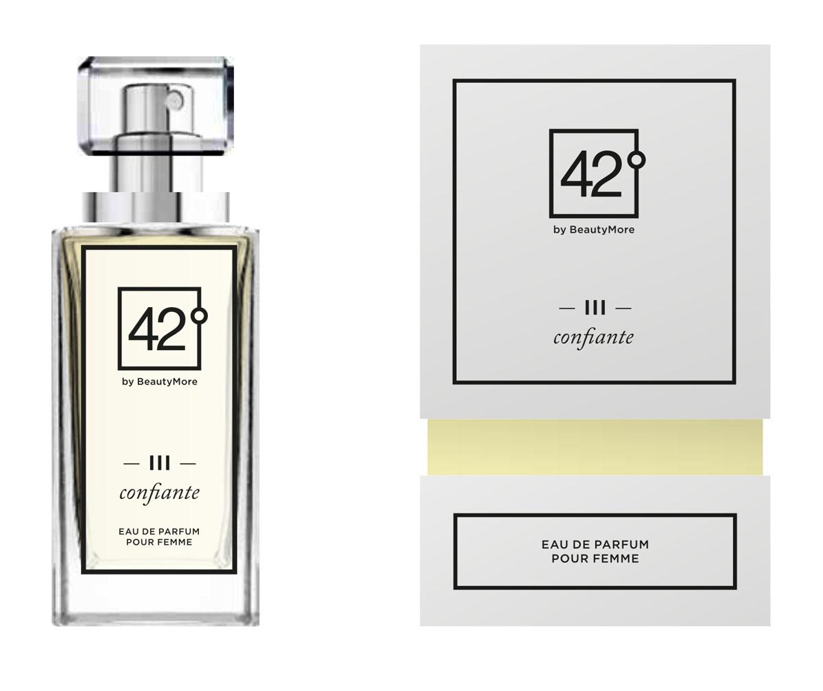 Fragrance 42 Парфюмированная вода для женщин III Confiante 50 мл42-96151Confiante- аромат созданный для уверенных в себе женщин, смело идущих по жизни, восхищяя окружающих. Верхняя нота - бергамот,грейпфрукт,апельсин, нота сердца - роза, жасмин,личи, базовые ноты - ветивер,мускус,пачули,ваниль.