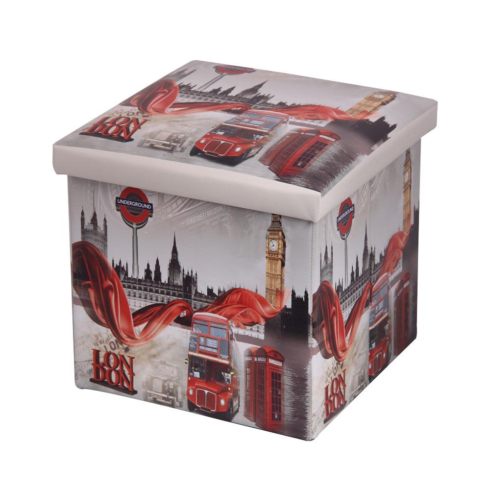 """Складной пуфик Miolla """"Лондон"""", выполненный из  МДФ и экокожи, понравится всем ценителям оригинальных вещей. Благодаря удобной  конструкции складывается и раскладывается одним движением. В сложенном виде изделие занимает  минимум места, его легко хранить и перевозить. В таком пуфике можно хранить всевозможные  предметы: книги, игрушки, рукоделие.  Яркий дизайн привнесет в ваш интерьер  неповторимый шарм. Размер пуфика (в собранном виде): 38 см х 38 см х  38 см."""
