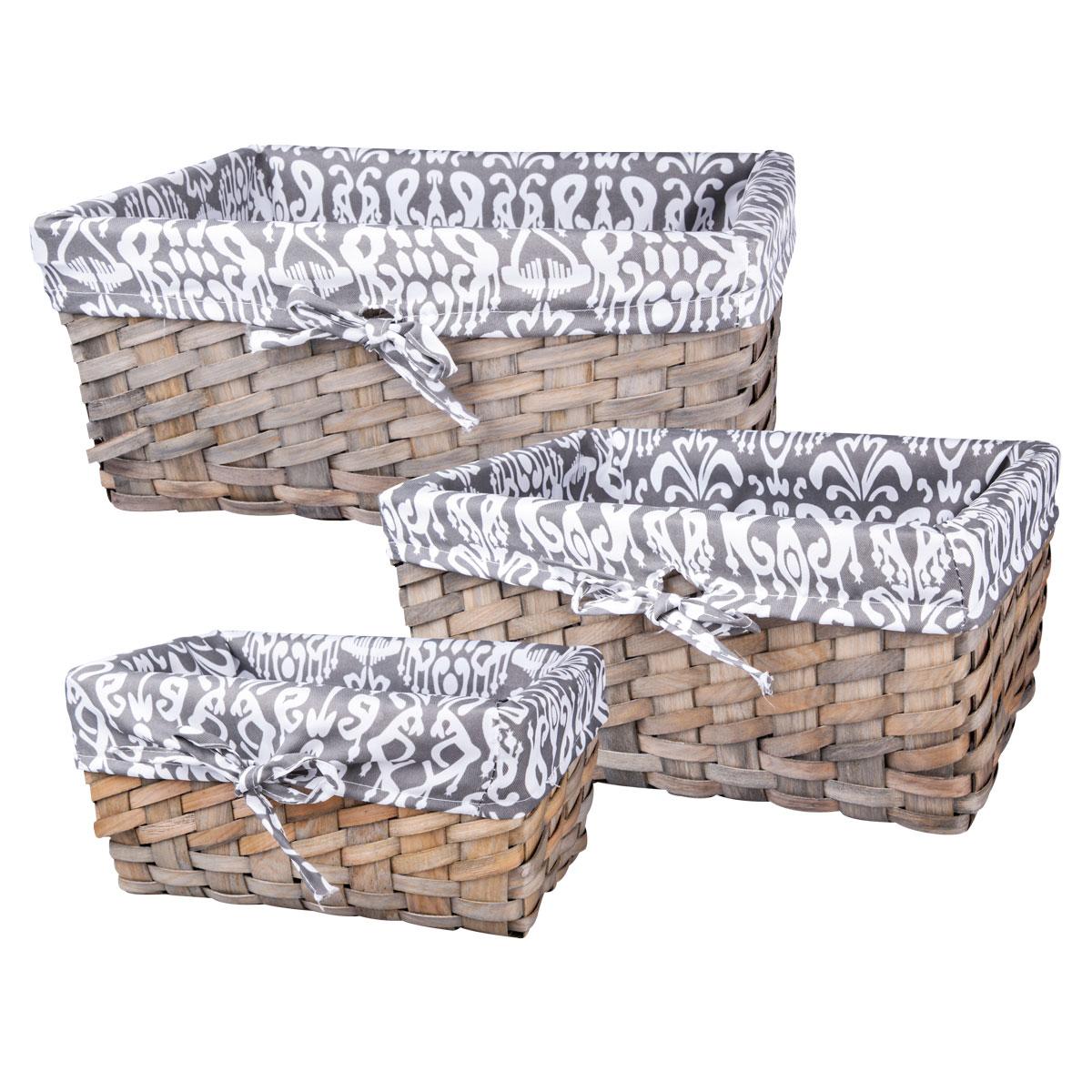 """Набор """"Miolla"""" состоит из трех прямоугольных плетеных корзинок разного размера. Изделия выполнены из плетеной древесины и обтянуты  тканью с оригинальным принтом. Такие корзинки прекрасно подойдут для хранения хлеба и других хлебобулочных изделий, печенья, а также  бытовых принадлежностей и различных мелочей. Стильный дизайн корзинок сделает их украшением интерьера помещения. Подойдут для кухни,  спальни, прихожей, ванной.  Размер малой корзины: 28 см х 16 см х 13 см.  Размер средней корзины: 33 см х 22 см х 15 см.  Размер большой корзины: 38 см х 26 см х 17 см."""