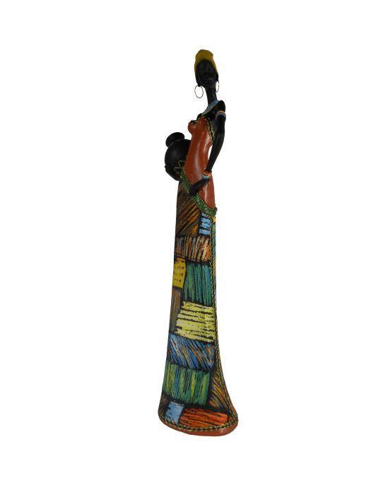 Фигурка декоративная Феникс-презент Африканка с кувшином, высота 44,5 см37913Декоративная фигурка Феникс-презент Африканка с кувшином, изготовленная из полирезина, достойно украсит интерьер вашего дома или офиса. Она выполнена в виде африканской девушки в национальной одежде с кувшином в руках. Вы можете поставить украшение в любом месте, где оно будет удачно смотреться и радовать глаз. Кроме того, это отличный вариант подарка для ваших близких и друзей.Размер фигурки: 13,5 х 9 х 44,5 см.