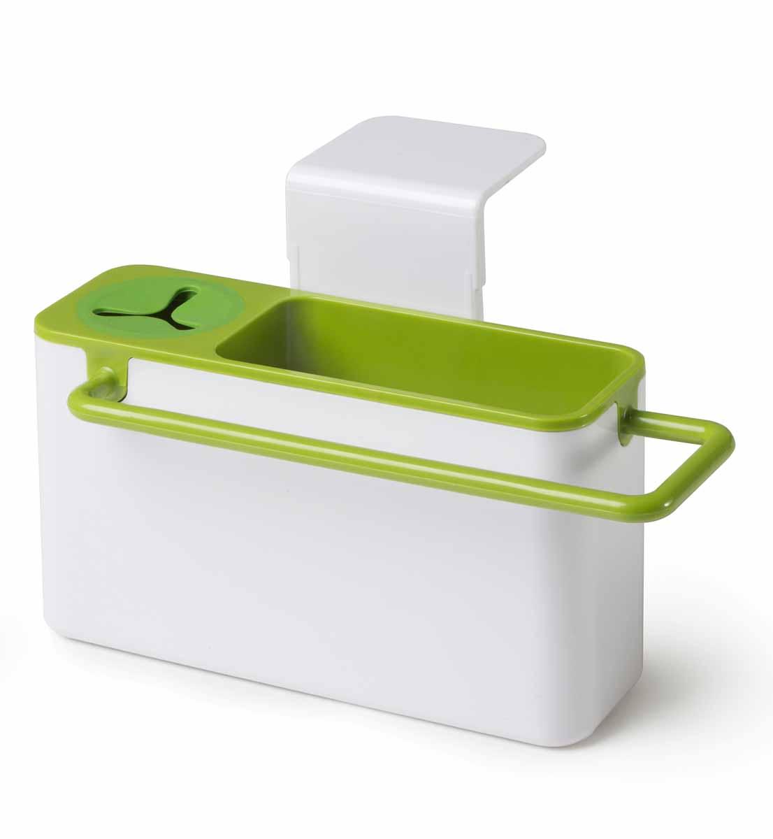 """Подставка для кухонных принадлежностей  Идея """"Mr. Чистюля"""" поможет навести на кухне полный порядок и расставить все по своим местам.  В ней найдется место для кухонной салфетки, моющего средства, ершика и губки. Подставка не только поможет вам держать под рукой необходимые для мытья посуды принадлежности, но и добавит настроения. Щетку можно поставить в отсек с силиконовым держателем, кухонную салфетку повесить на рейлинг, где она быстрей высохнет, а губку для мытья посуды положить внутрь подставки. Вся вода, которая будет собираться с моющих принадлежностей, будет стекать в раковину.  Подставка крепится на раковину мощными присосками, при необходимости она легко снимается, разбирается и моется. Размер подставки: 19 х 9 х 9 см."""