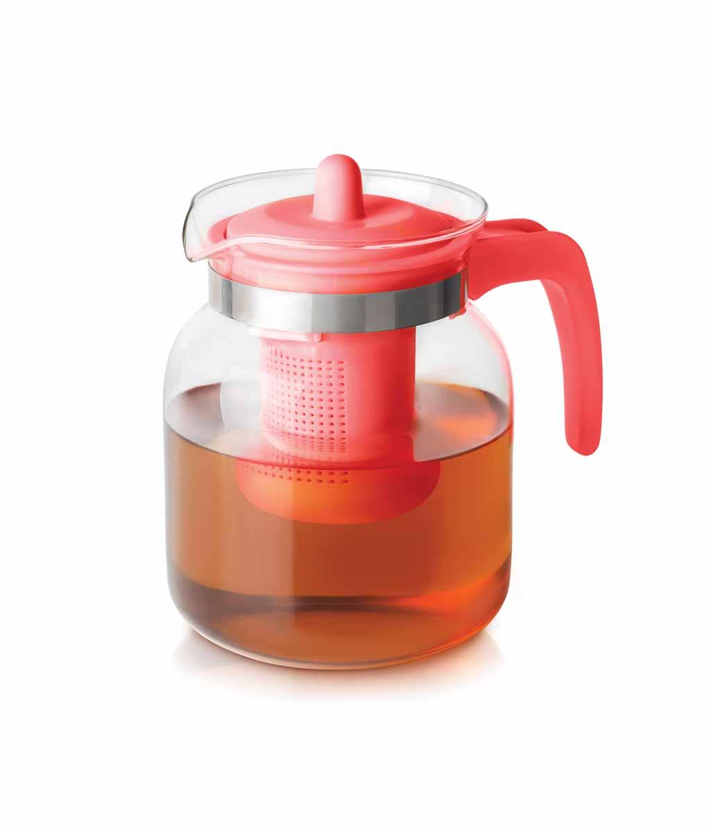 """Чайник-кувшин Menu """"Чабрец"""" изготовлен из прочного стекла, которое выдерживает температуру до 100°C. Он прекрасно подойдет для заваривания чая и травяных настоев. Классический стиль и оптимальный объем делают чайник удобным и оригинальным аксессуаром, который прекрасно подойдет для ежедневного использования. Ручка изделия выполнена из пищевого пластика, она не нагревается и обеспечивает безопасность использования. Благодаря съемному ситечку и оптимальной форме колбы, чайник- кувшин Menu """"Чабрец"""" идеально подходит для использования его в качестве кувшина для воды и прохладительных напитков. Диаметр чайника по верхнему краю: 10,3 см. Общий диаметр чайника: 11 см. Высота чайника (без учета ручки и крышки): 15,6 см. Высота чайника (с учетом ручки и крышки): 17 см."""